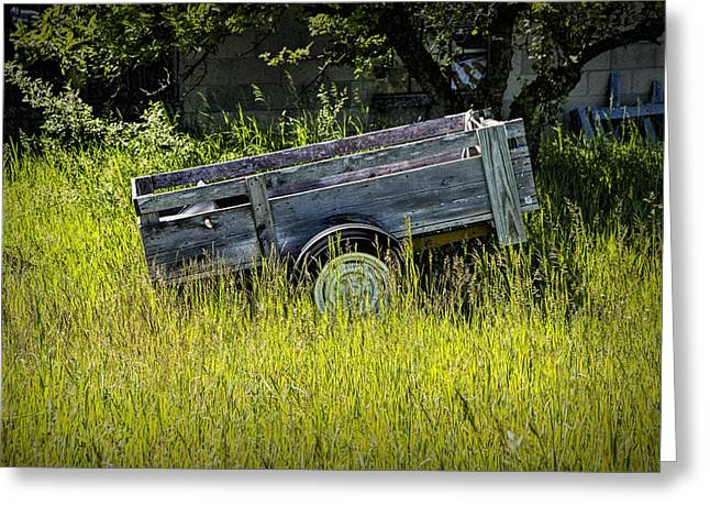 Old Wooden Wagon Greeting Card by Randall Nyhof