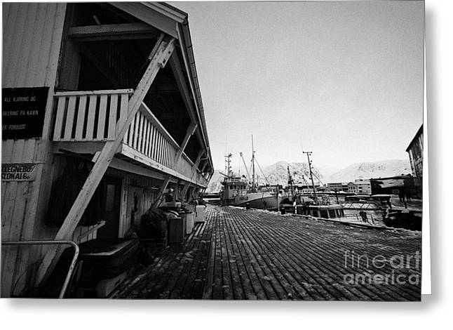 old wooden warehouses and buildings for drying fish Honningsvag harbour finnmark norway europe Greeting Card by Joe Fox