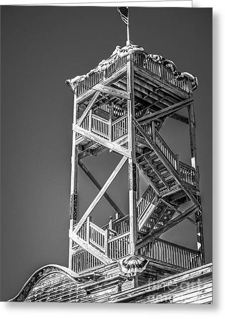 Old Wooden Watchtower Key West - Black And White Greeting Card