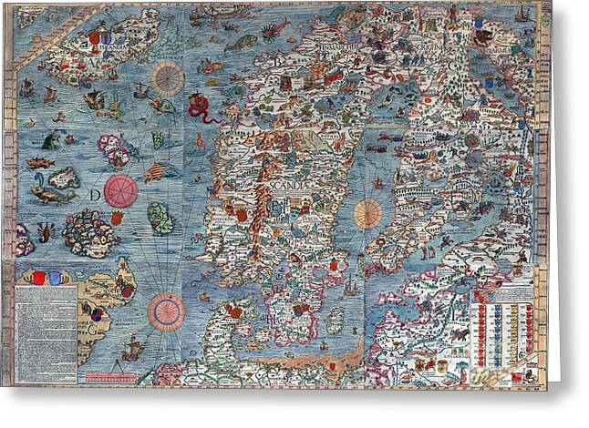Old World Art Map  Greeting Card by Inspired Nature Photography Fine Art Photography