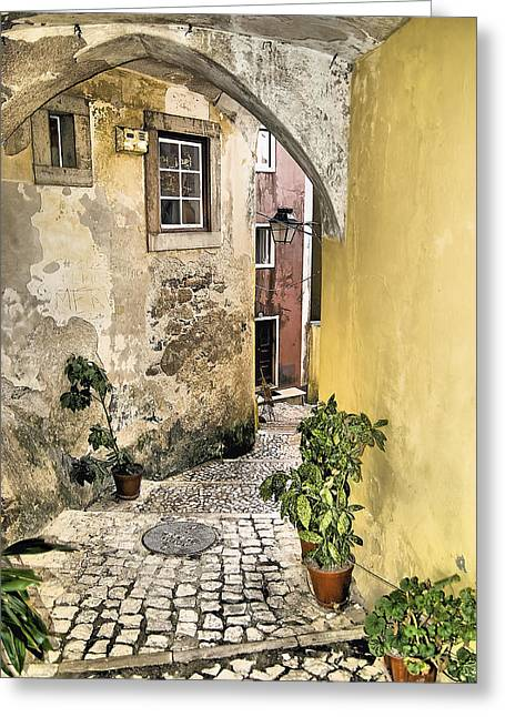 Old World Courtyard Of Europe Greeting Card by David Letts
