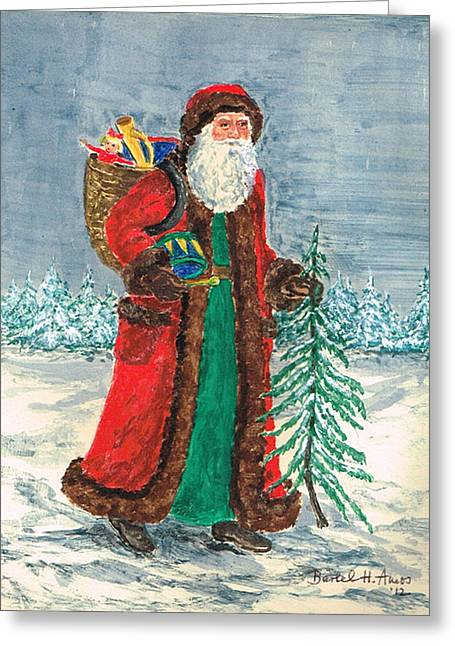 Old World Father Christmas 5 Greeting Card by Barbel Amos