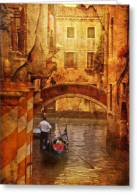 Old World Gondola Greeting Card by Greg Sharpe