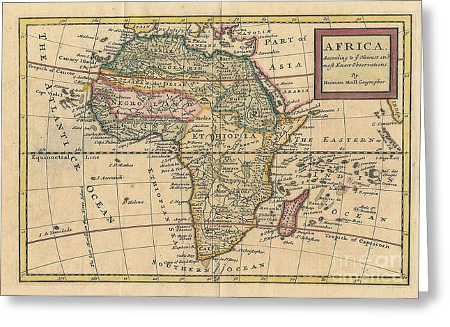 Old World Map Of Africa Greeting Card by Inspired Nature Photography Fine Art Photography