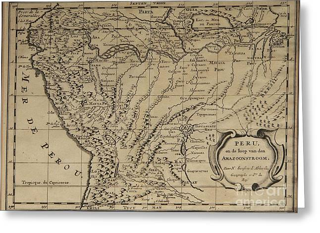 Old World Map Of Peru Greeting Card by Inspired Nature Photography Fine Art Photography