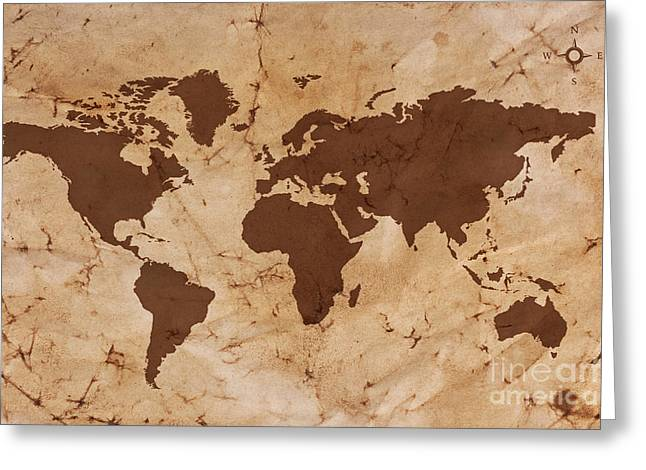 Old World Map On Creased And Stained Parchment Paper Greeting Card by Richard Thomas