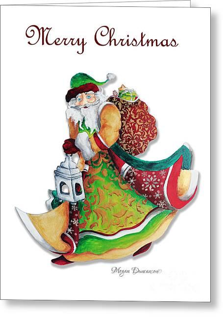 Old World Santa Christmas Art Original Painting By Megan Duncanson Greeting Card by Megan Duncanson