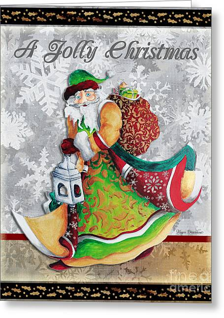 Old World Santa Clause Christmas Art Original Painting By Megan Duncanson Greeting Card by Megan Duncanson