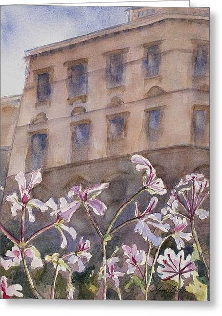 Old World Windowbox Greeting Card by Mary Benke