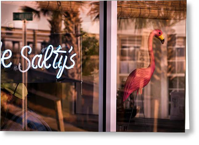 Olde Saltys Reflections Greeting Card by Karen Wiles