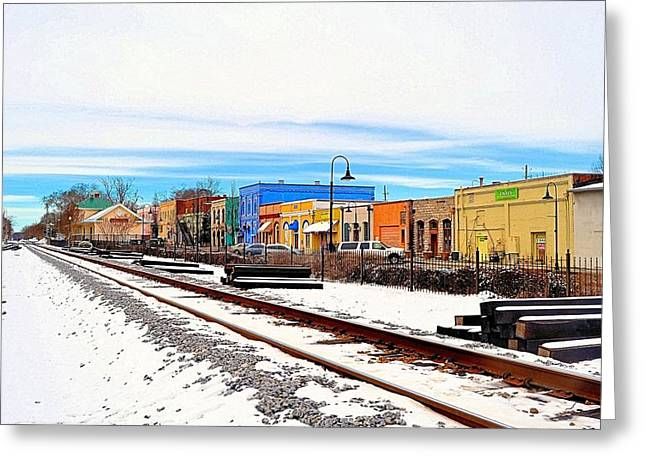 Olde Town In Snow Greeting Card