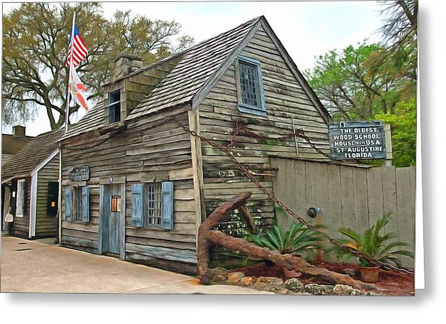 Oldest Wood School House In The Usa Greeting Card