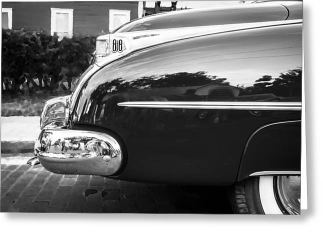Oldsmobile 88 Futurmatic Coupe Bw  Greeting Card by Rich Franco