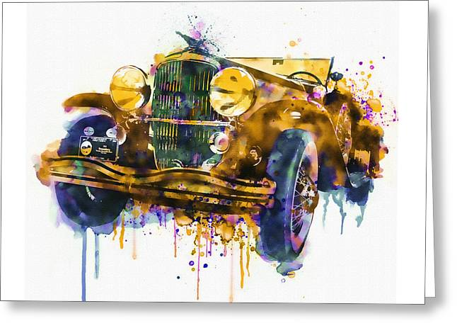 Oldtimer Automobile In Watercolor Greeting Card