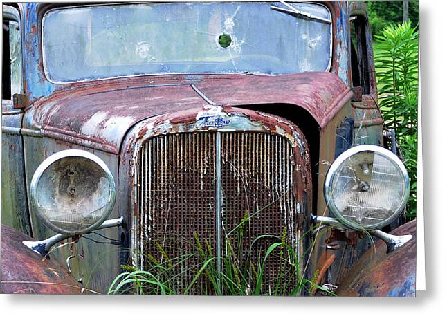 Ole Chevy Greeting Card by Leon Hollins III