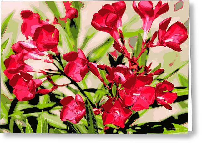 Oleander Red Greeting Card by Sheri McLeroy