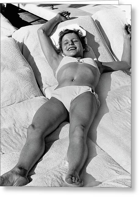 Olga Korbut Lying Down In The Sun Greeting Card by Duane Michals