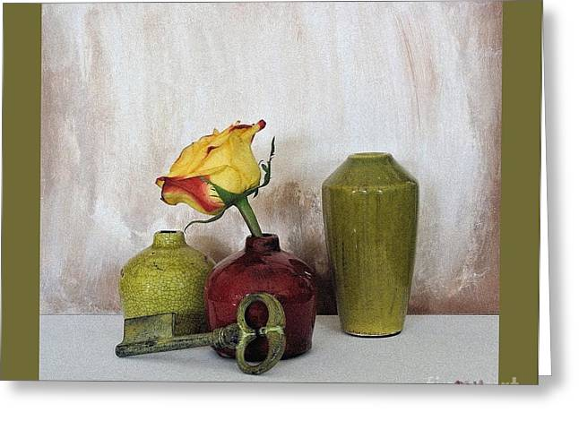 Olive Green Vases Key And Yellow Rose Greeting Card