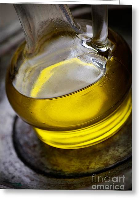 Olive Oil And Basil Greeting Card by Mythja  Photography