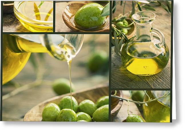Olive Oil Collage Greeting Card by Mythja  Photography