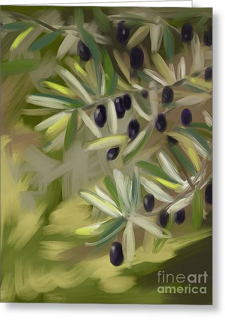 Greeting Card featuring the painting Olive Tree by Go Van Kampen
