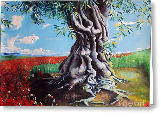 Olive Tree In A Sea Of Poppies Greeting Card by Alessandra Andrisani