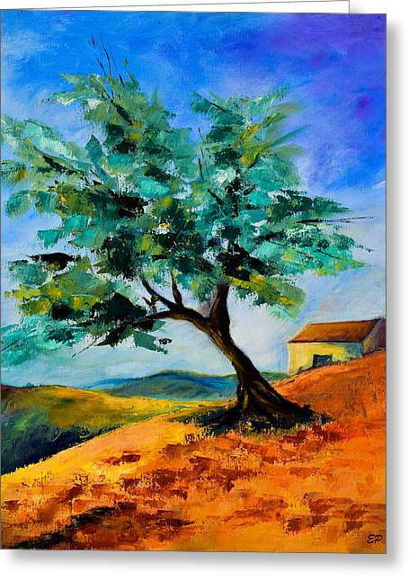 Olive Tree On The Hill Greeting Card