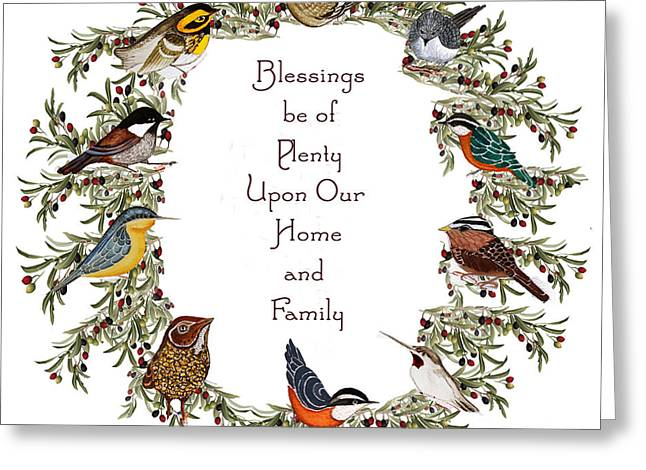 Olive Wreath Of Little Birds Blessings Greeting Card by Alexandra  Sanders