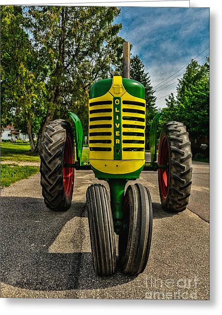 Greeting Card featuring the photograph Oliver Row Crop Ogdensburg Puller by Trey Foerster