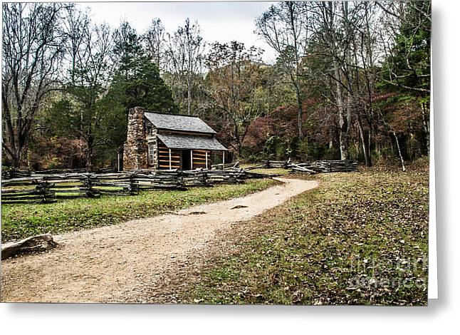 Greeting Card featuring the photograph Oliver's Log Cabin by Debbie Green
