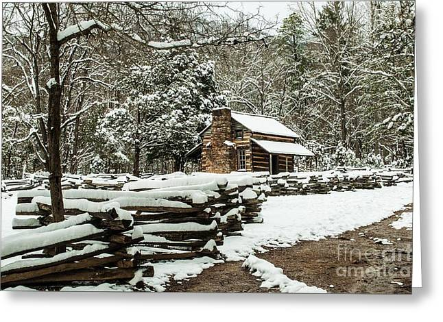 Greeting Card featuring the photograph Oliver's Log Cabin Nestled In Snow by Debbie Green
