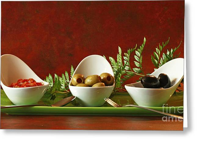 Olives And Salsa Delight Greeting Card by Inspired Nature Photography Fine Art Photography