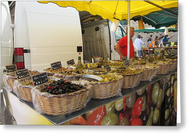 Olives For Sale Greeting Card by Pema Hou