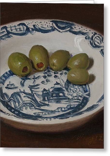 Olives In A Bowl Greeting Card by Youqing Wang