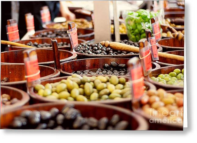 Olives In Barrels Greeting Card by Ivy Ho