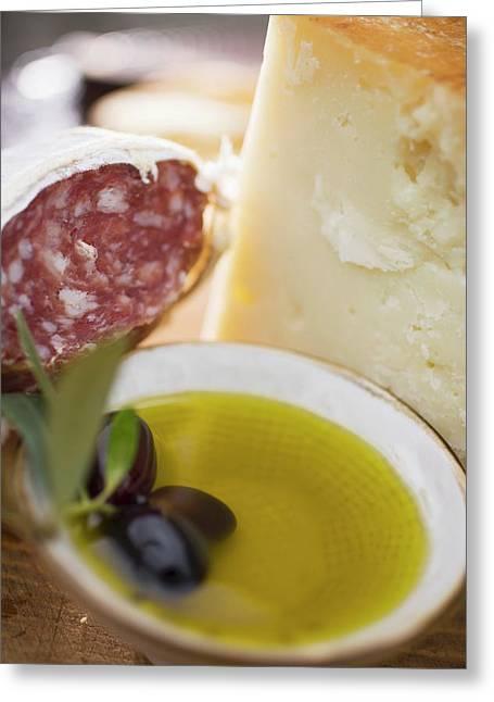 Olives, Olive Oil, Parmesan And Salami Greeting Card