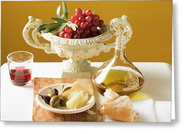 Olives, Parmesan, Bread, Olive Oil, Red Grapes And Red Wine Greeting Card