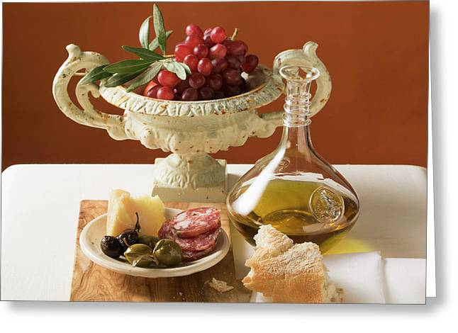 Olives, Sausage, Parmesan, Bread, Olive Oil And Red Grapes Greeting Card