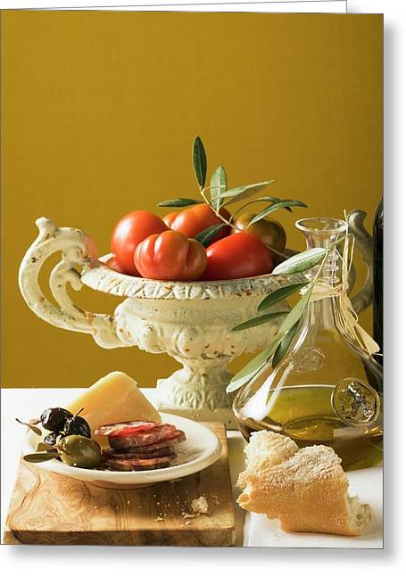 Olives, Sausage, Parmesan, Bread, Olive Oil And Tomatoes Greeting Card