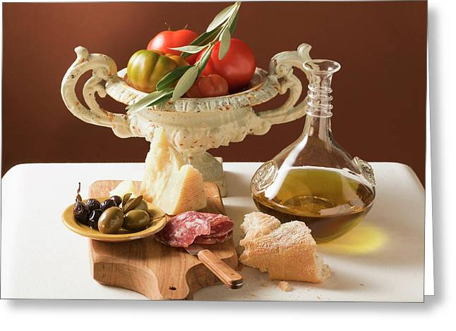 Olives, Sausage, Parmesan, Olive Oil, White Bread And Tomatoes Greeting Card
