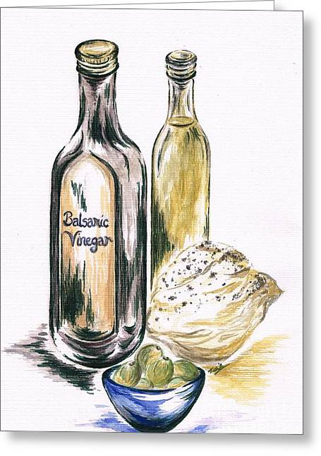 Olives With Bread And Dip Greeting Card