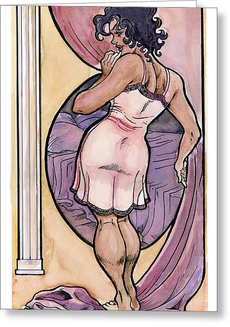 Greeting Card featuring the drawing Olivia by John Ashton Golden