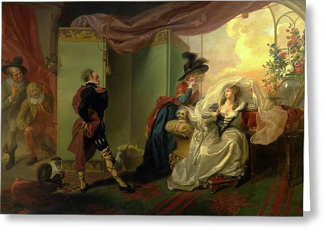 Olivia, Maria And Malvolio From Twelfth Night, Act IIi Greeting Card