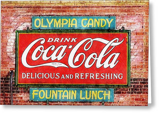 Greeting Card featuring the painting Olympia Candy by Sandy MacGowan