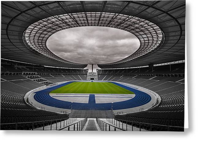 Olympia Stadion Berlin Greeting Card by Stavros Argyropoulos