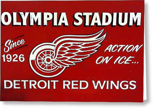 Olympia Stadium - Detroit Red Wings Sign Greeting Card by Bill Cannon