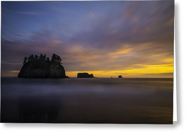 Olympic Coast Sunset Greeting Card by Larry Marshall