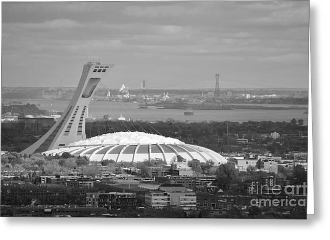 Olympic Stadium Montreal Greeting Card by Reb Frost
