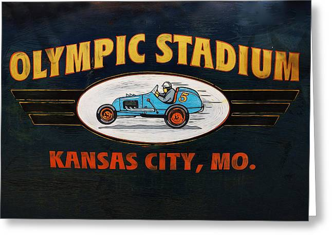 Olympic Stadium Racing Greeting Card by Alan Hutchins