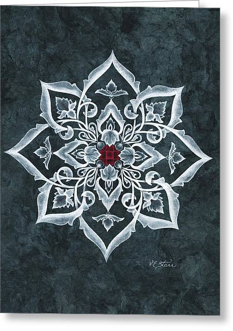 Om Mani Padme Hum Greeting Card by Ellen Starr